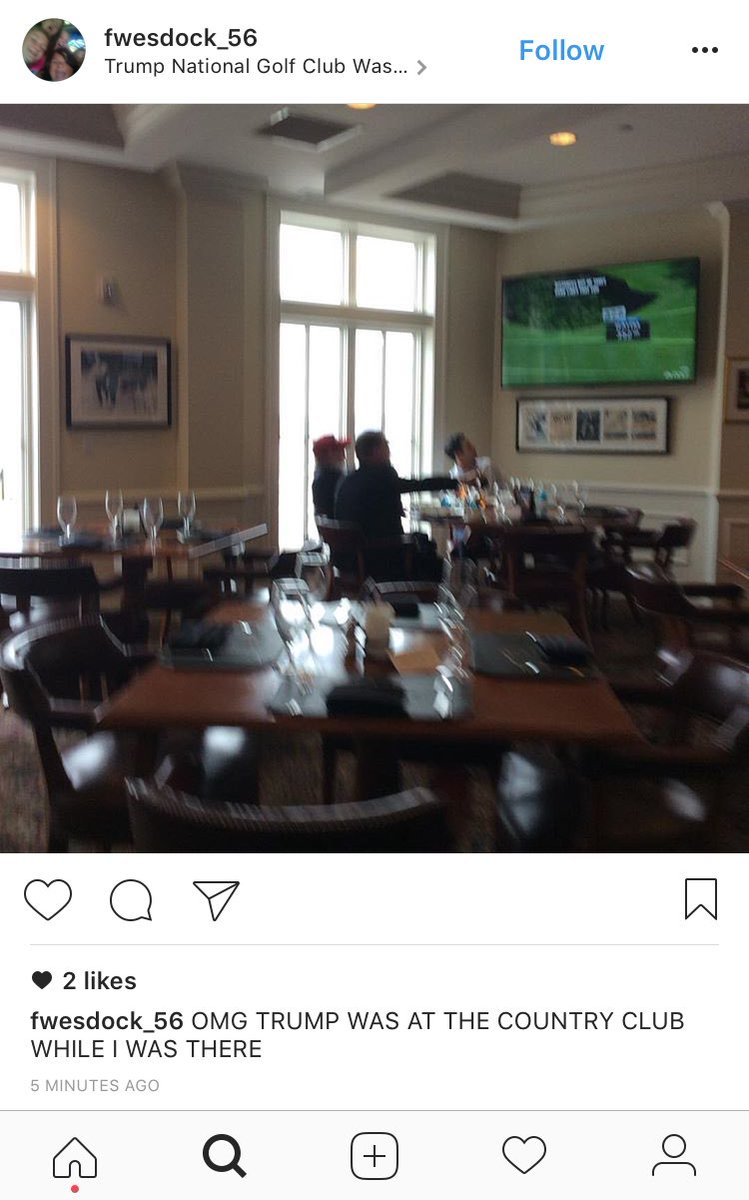 Someone just posted this on Instagram from Trump's golf club. POTUS appears to be watching Golf Channel with 2 other people.