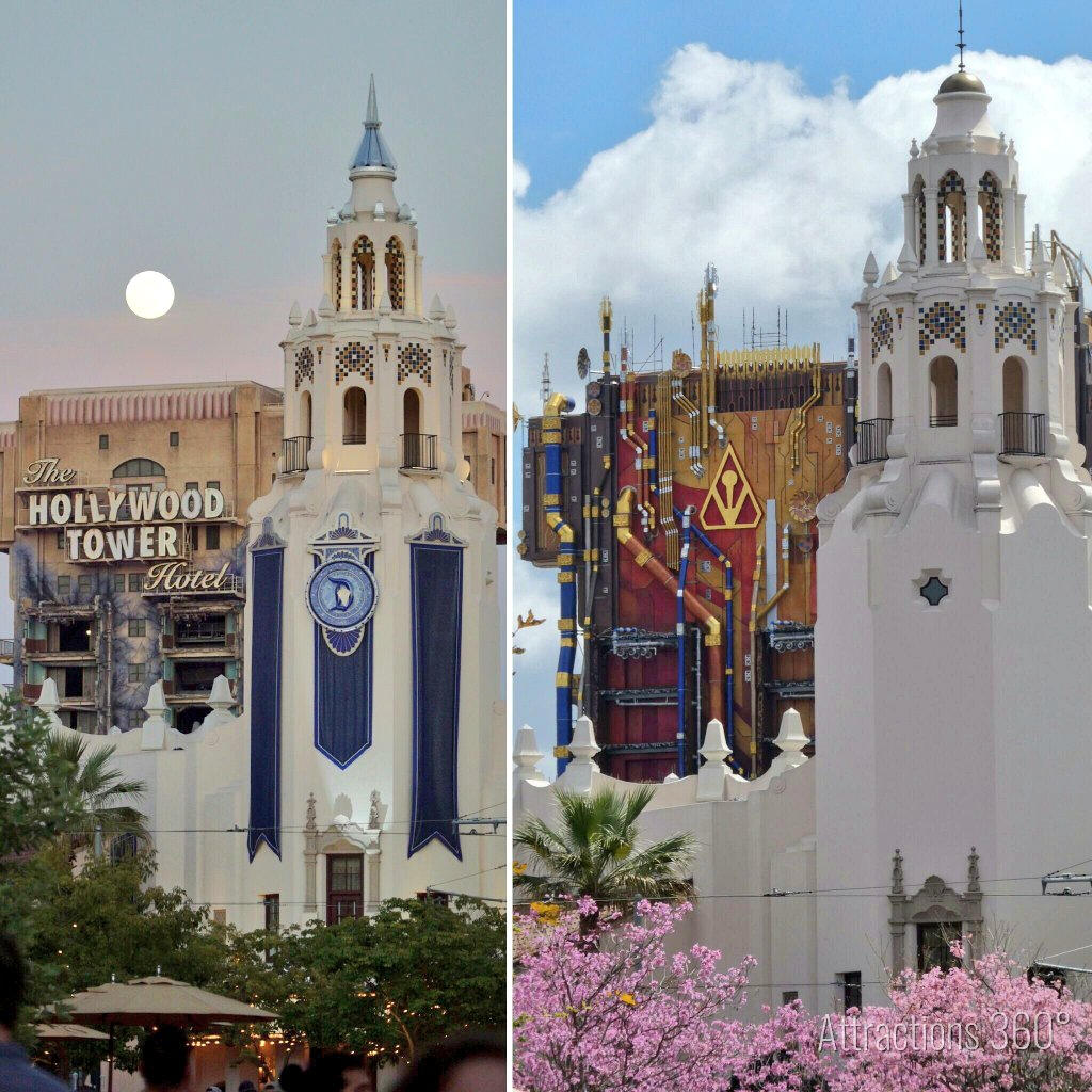 There you have it! Guardians of the Galaxy ride with No scaffolding. Here's a before and after. Which one is better? #TowerofTerror https://t.co/C6LsDeRLIC
