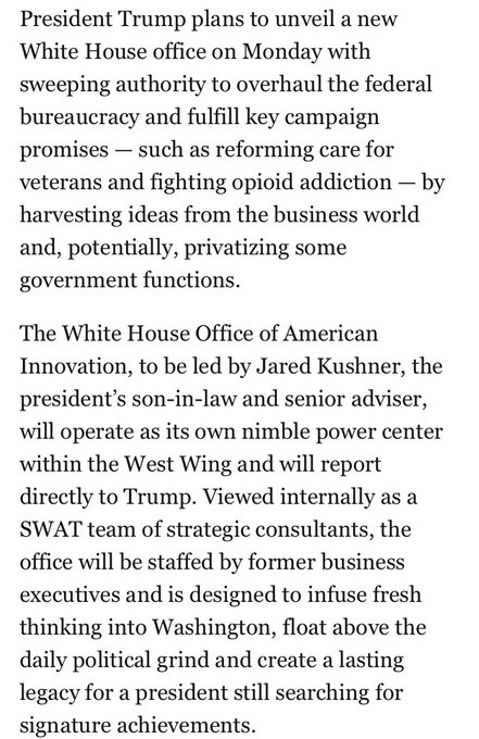 New from @PhilipRucker + @AshleyRParker: Jared Kushner will lead an office able to overhaul the federal bureaucracy https://t.co/UnGKkjpBcl
