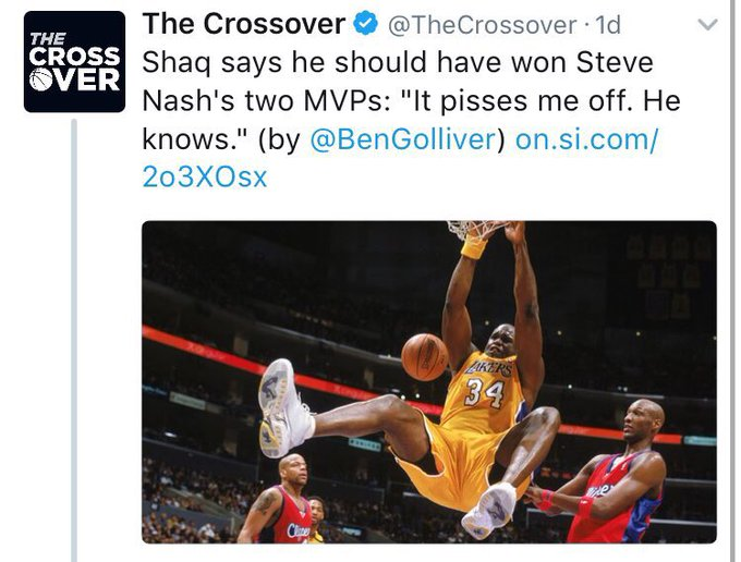 Shaq thinks he should've won the 2006 MVP even though he got zero (0) votes for the 2006 MVP
