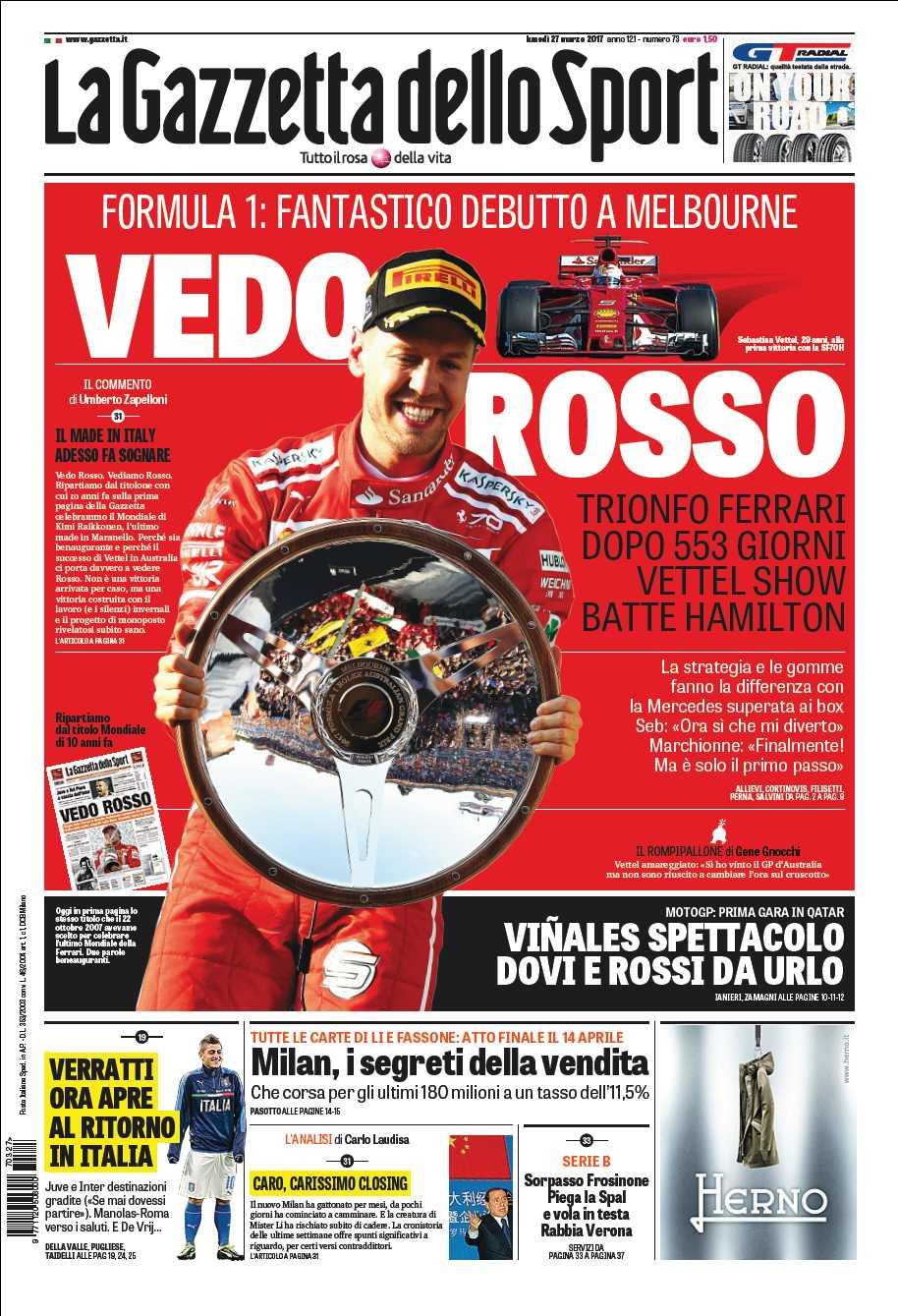 Una #Gazzetta... speciale oggi 🏁 Vedo Rosso, trionfo @ScuderiaFerrari 🏁 Viñales show, Dovi e Rossi da urlo ⚽ Milan, i segreti della vendita. https://t.co/6k3n3Q4NJW