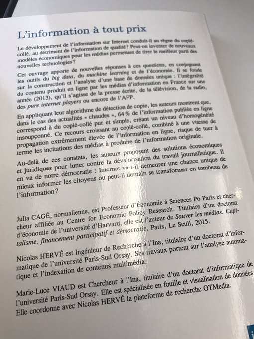 Plongée dans la lecture de 'L'Information à tout prix', par @CageJulia @nrv75 et Marie-Luce Viaud, paru chez @Inafr_officiel @InaGlobal