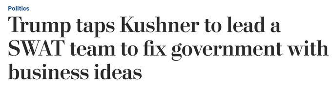 Final note is that it's outrageous puffery to call this new Jared Kushner office a 'SWAT team.'   He's going to hold some meetings.