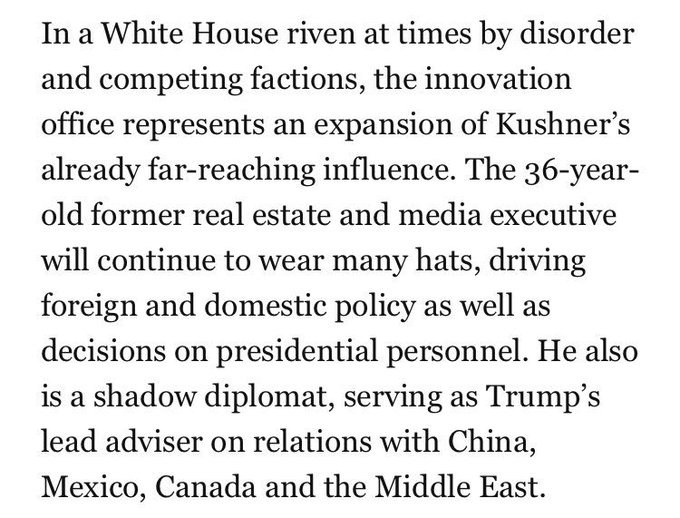 Maybe the reason the Trump administration hasn't filled all these jobs is Jared's just gonna do 'em https://t.co/oskwcUG2zK