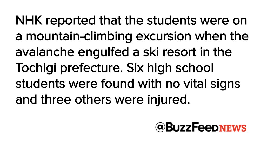 Developing: An avalanche engulfed a group of Japanese high school students in north Tokyo https://t.co/sxXKNpbxgk