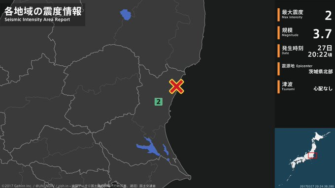 【地震情報 2017年3月27日】 20時22分頃、茨城県北部を震源とする地震がありました。震源の深さは約10km、地震の規模はM3.7、最大震度2を茨城県で観測しています。この地震による津波の心配はありません。