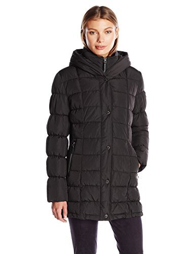 #fashion #free #style #win #giveaway Calvin Klein Women's Puffer Coat Long with Knit Trim Side Detail, Black, L #rt
