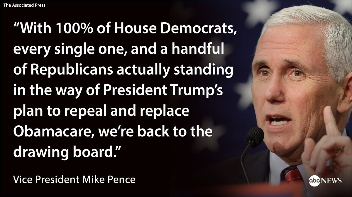 VP Mike Pence: 'Congress just wasn't ready' to repeal, replace Obamacare. https://t.co/ILGfxLRgyv