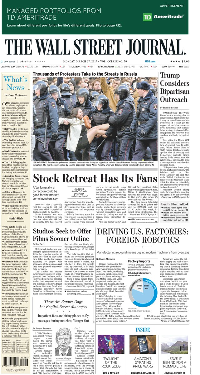 Take an early look at the front page of The Wall Street Journal https://t.co/5xQPDPcm8q