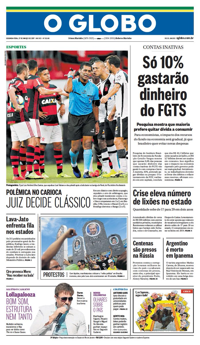 A capa do @JornalOGlobo nesta segunda-feira. https://t.co/IIUbHsl0Nn