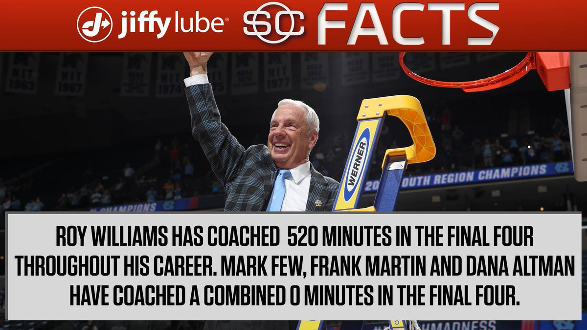 Roy Williams is an old pro when it comes to the Final Four in the @jiffylube #SCFacts.