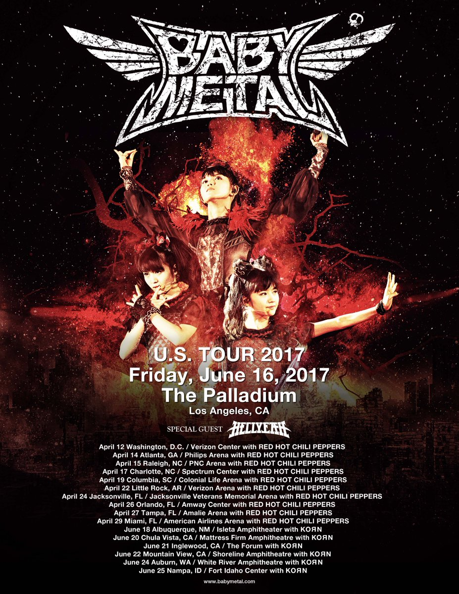 KORN US TOUR w/ Support Guest #BABYMETAL; ADDITIONAL SHOW DATE ANNOUNCEMENT!! https;//t.co/A58y7H...