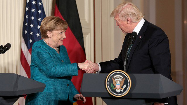 Trump handed Merkel a fake £300 billion NATO invoice during her visit to Washington: report https://t.co/To4kMWJLjY