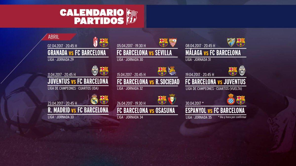 📅 Un abril con mucho en juego. Apunta todos los partidos ✏️ #ForçaBarça 🔴🔵