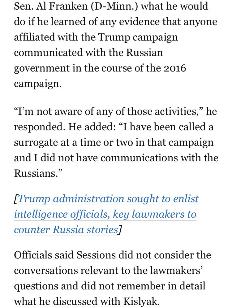 Top Trump officials keep meeting with the Russian ambassador then not mentioning it because they deemed it irrelevant. Sessions, Kushner: