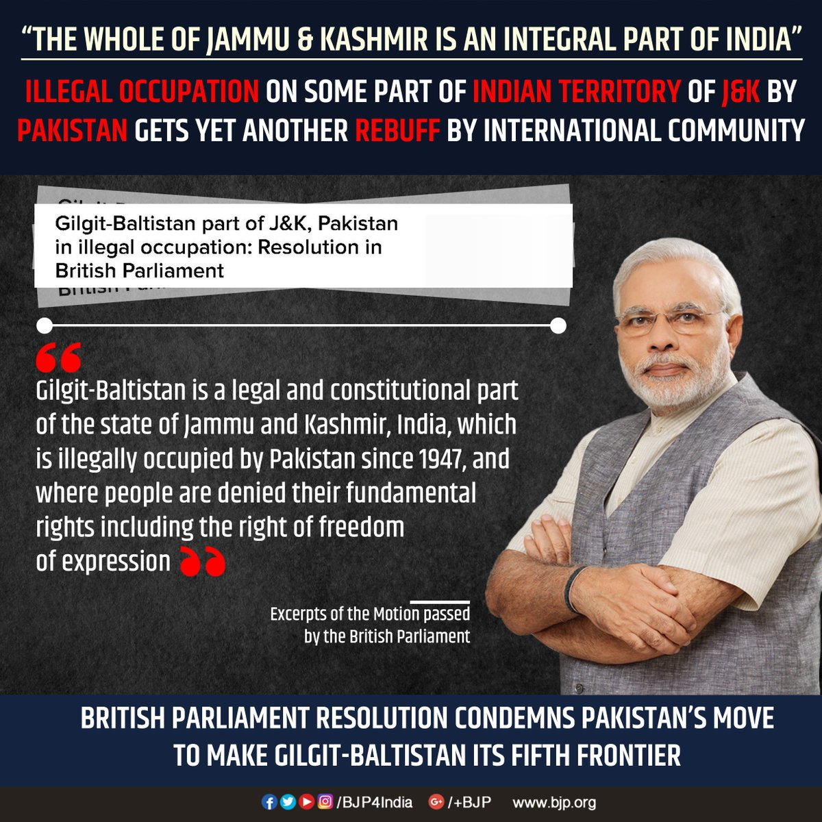 In yet another rebuff to Pakistan's illegal occupation of Gilgit-Baltistan, British Parliament resolution states it's legal part of India.