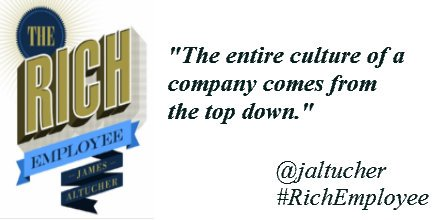 The entire culture of a company comes from the top down. - @jaltucher https://t.co/5Cy9WCNKbI #quote #RichEmployee https://t.co/79kWaMygrW