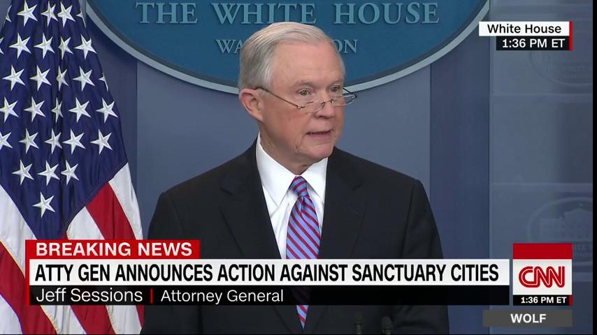 Happening now: Attorney General Jeff Sessions announces action against sanctuary cities https://t.co/UYpqI3esEb https://t.co/TCOMk6DBdv