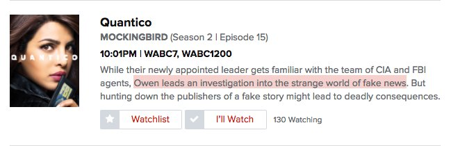 Quantico is about Fake News tonight, apparently. We will never escape.