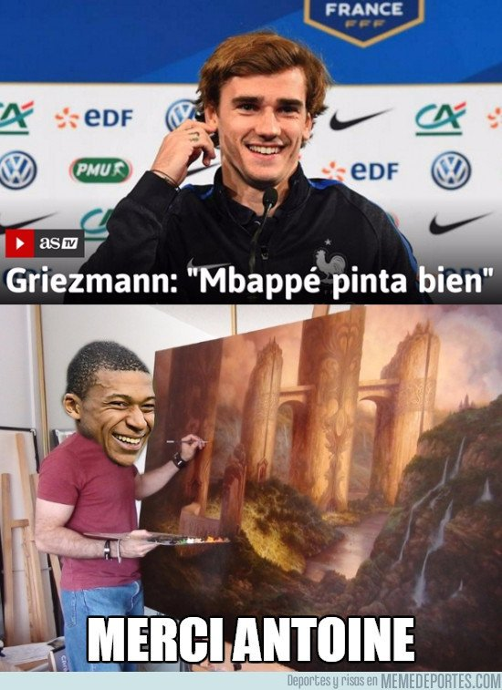 RT @memedeportes: Lo que opina Griezmann de Mbappé https://t.co/97b0r4Mp43 https://t.co/PKhBxCa4J6
