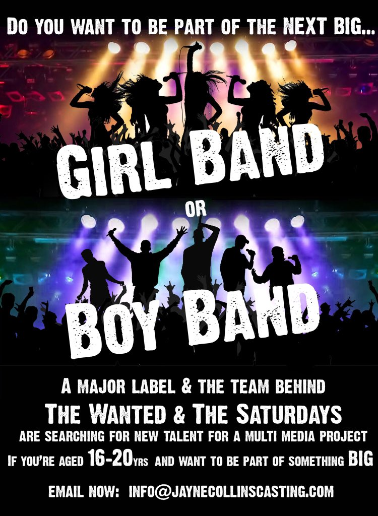 Looking to make a career in music? Apply to audition to be part of a boyband / girlband. Must be aged 16-20, driven and talented.