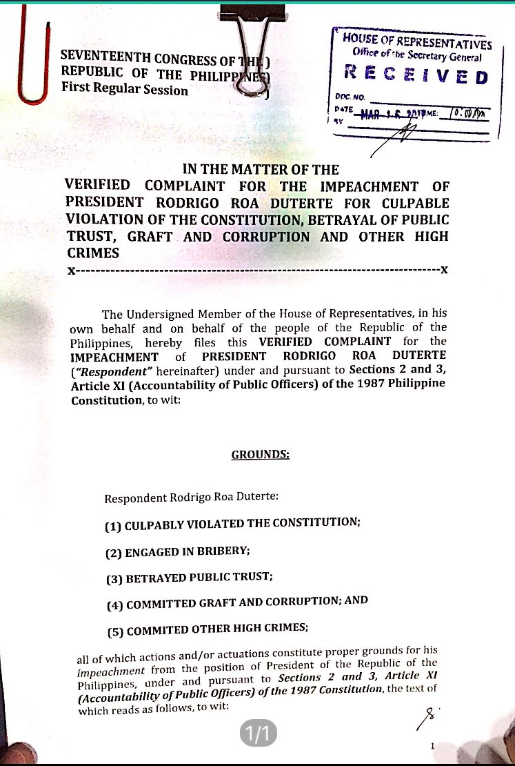 LOOK: First page of the impeachment complaint vs. President Duterte. | via @erwincolcol https://t.co/9WeuBZU4cX