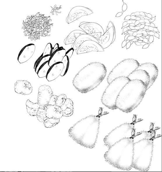定食ブラシってなんぞって言われたから。 クリスタで無料配布されてる定食が簡単に描けちゃうブラシ。好きだけど未だに使えてないwww