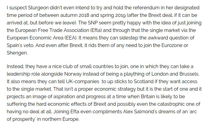 Sturgeon's real plan probably doesn't even involve the EU. It involves Efta https://t.co/iv3C0q48sa https://t.co/7fNQ6heVZC