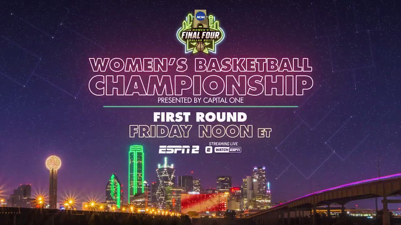 The road to Dallas starts now!   Full women's tournament coverage is live on ESPN2 and the ESPN app! https://t.co/JEtYtQseG5