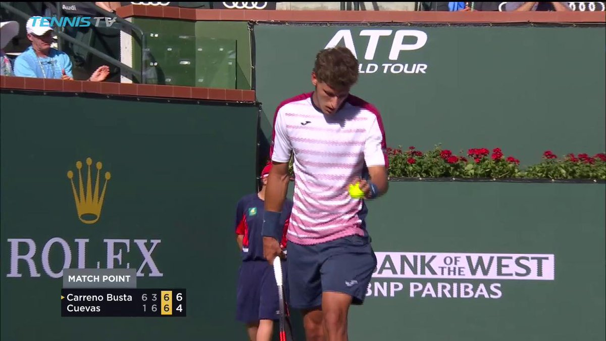 RT @BNPPARIBASOPEN: Now THAT is how you celebrate making your first semifinal in #IndianWells!  #BNPPO17 https://t.co/C4LbIVvqrv
