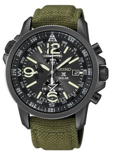 #free #fashion #watches #win #giveaway #np Seiko SSC295 Solar Chronograph Black Dial Green Canvas Strap Prospex Mens Watch #rt