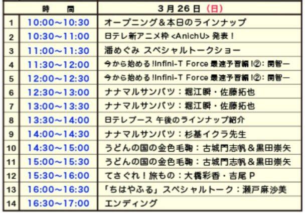 AnimeJapan「日テレブース」ステージ3月26日(日)「ちはやふる」瀬戸麻沙美「てさぐれ!旅もの2」大橋彩香「うど