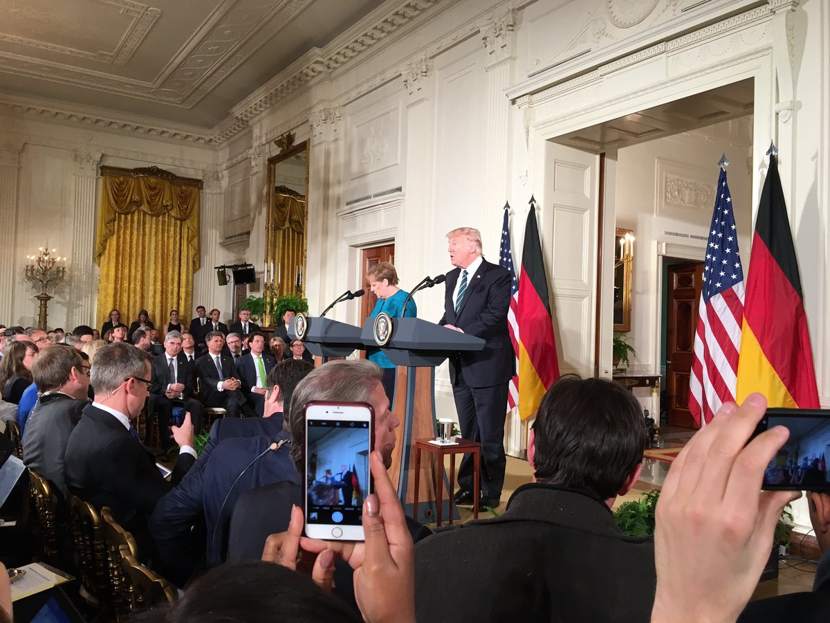 Pres Trump and German Chancellor Merkel appear in East Room for joint news conference. https://t.co/4MuFSTm6iN