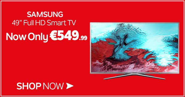 "Enjoy crisp, clear picture quality of the rugby tomorrow w/ the Samsung 49"" Full HD Smart TV!https://t.co/8xepdYTQTg https://t.co/b5noRQzKUa"