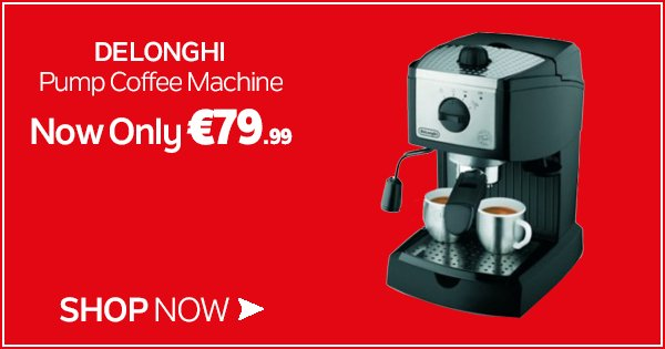 This Delonghi Pump Coffee Machine provides the perfect start to your morning - now €79.99! https://t.co/zjemITIi4G https://t.co/m0PavnoEm7