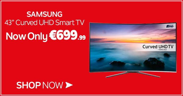 "Take 4K UHD picture resolution to the next stage w/ the Samsung 43"" Curved Smart UHD TV - https://t.co/33Dp1ww9WA https://t.co/S810L5PRnC"