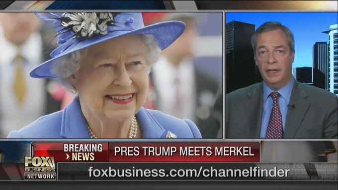 I see over on Fox News Farage is claiming the Queen 'made it quite clear' she supports Brexit https://t.co/wD5Wb3oN4c