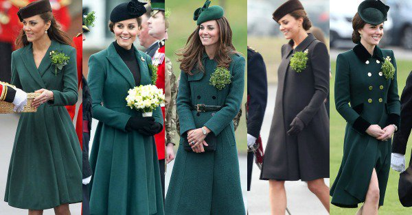The years change. Kate Middleton's St. Patrick's Day style does not. (Well, not much.)