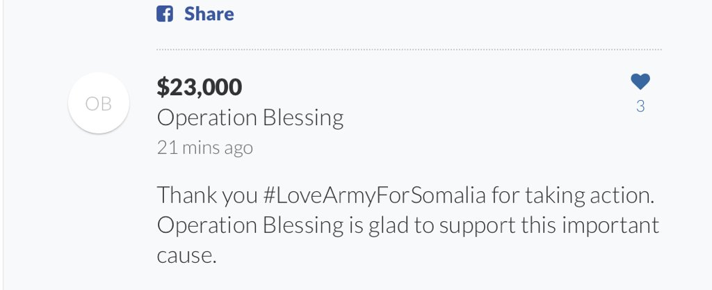 We're so glad to help provide emergency food during the Somalia famine.  Go go go #LoveArmyForSomalia https://t.co/cCN8KdovaS