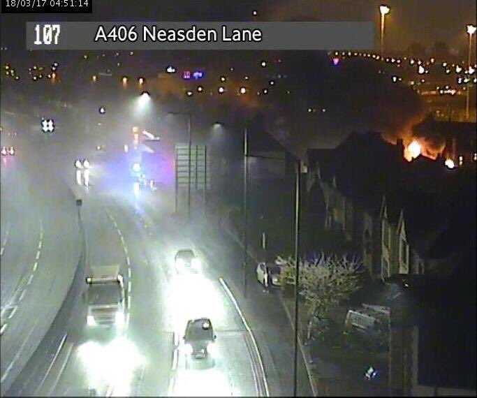 #Neasden car workshop fire is now under control. Gas cylinders have been cooled down & the nearby parts of the  wil#A406l reopen shortly