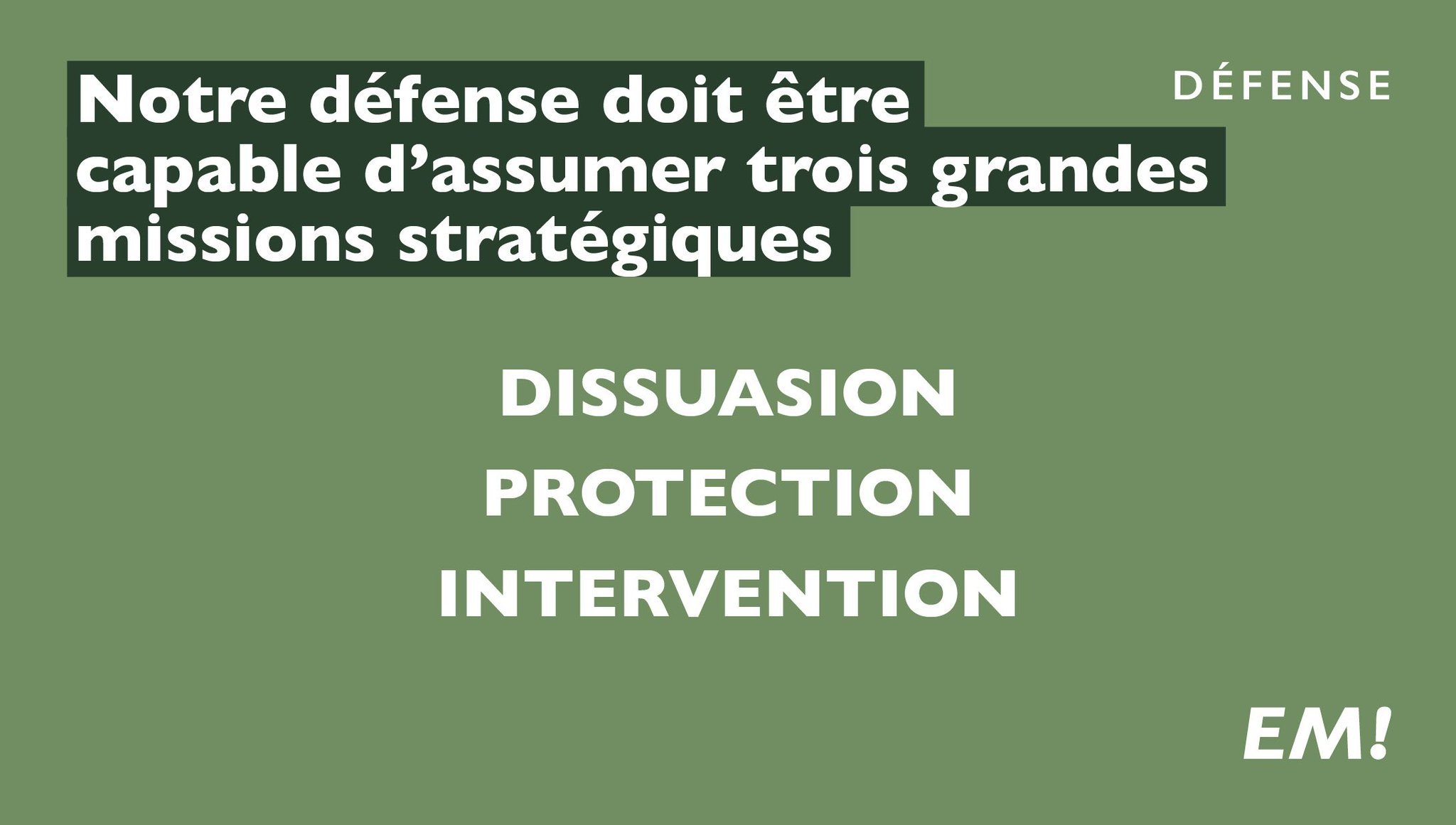 Dissuasion, protection, intervention. #MacronDéfense https://t.co/aHUJro0Ysk