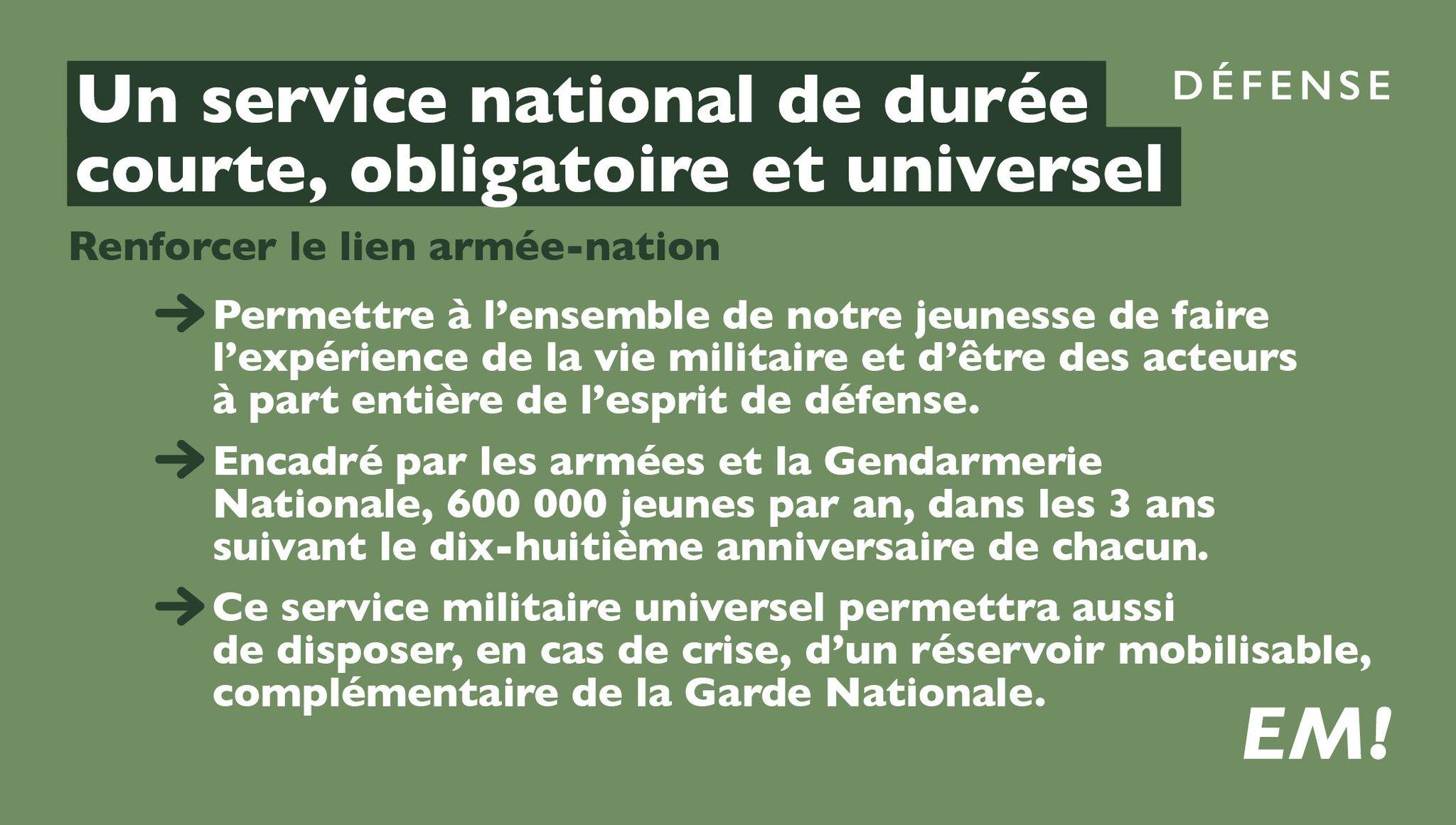 J'instaurerai un service national de durée courte, obligatoire et universel. #MacronDéfense https://t.co/nadVgBNb6r