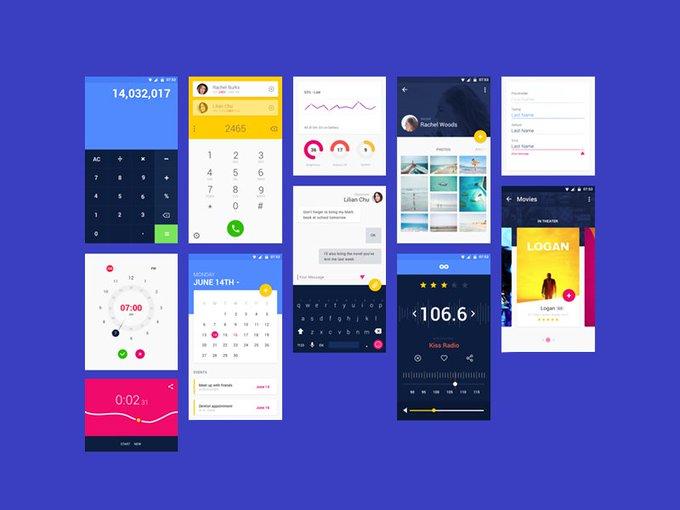 Material UI Kit    Icons by Emma Drews freebie