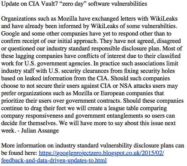 Update on CIA #Vault7 'zero day' software vulnerabilities  Ref: https://t.co/QvbESZFC7f by #wikileaks via @c0nvey https://t.co/vSjYZoOkMq