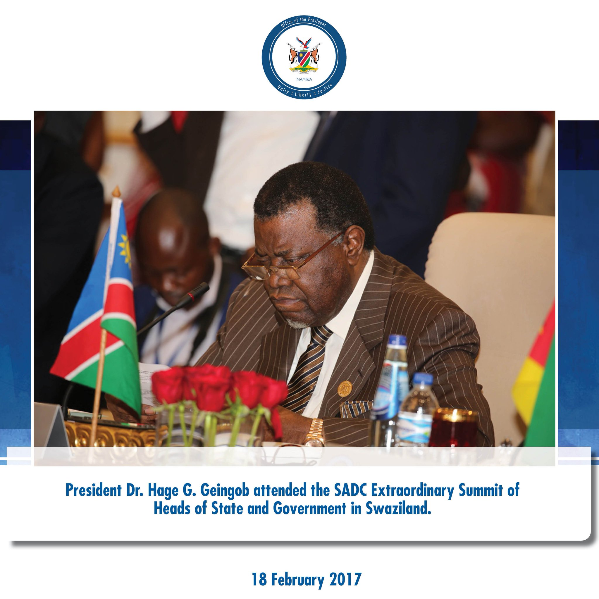 President @hagegeingob attended the #SADCExtraordinarySummit of Heads of State and Government in #Swaziland today. https://t.co/F428azBeeG