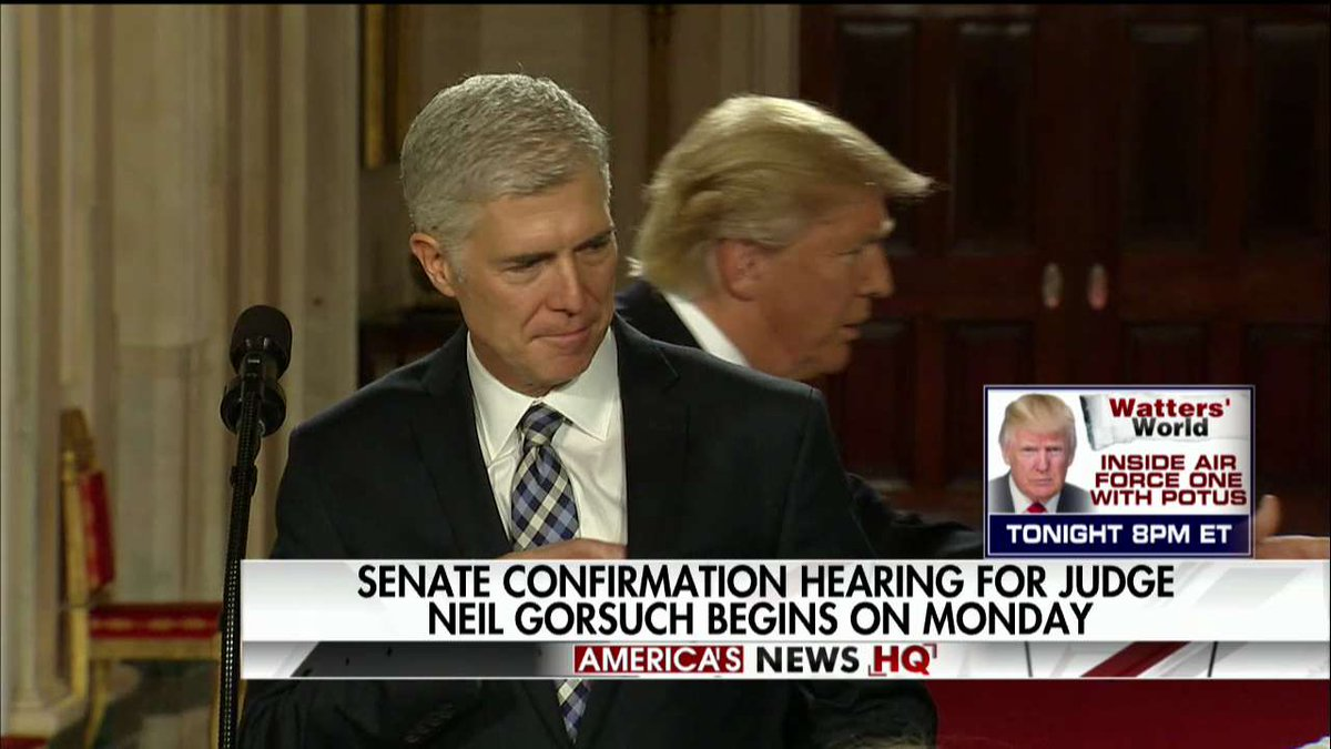 Senate confirmation hearing for Judge Neil Gorsuch begins on Monday. https://t.co/T7ZXRi106i