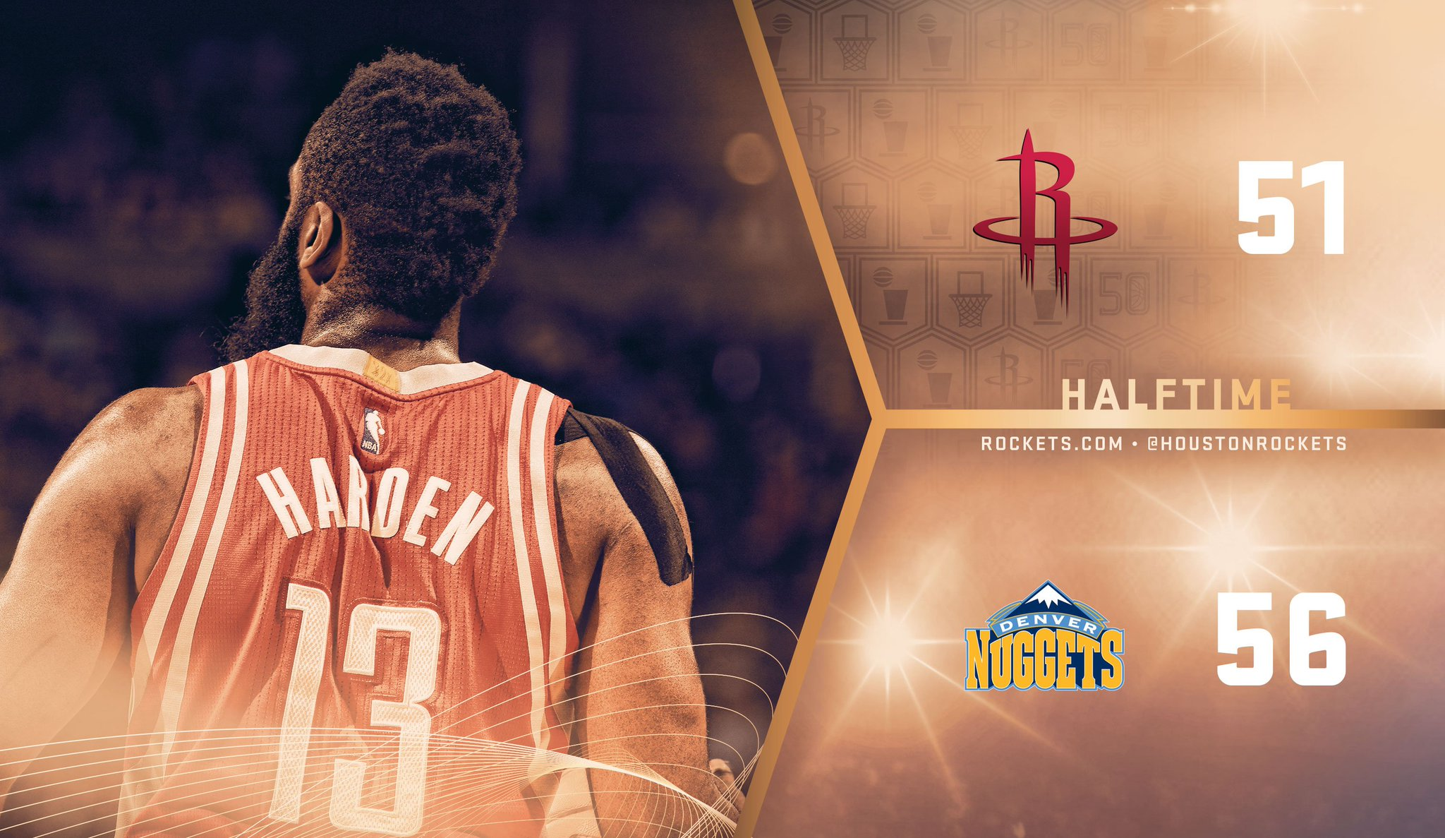 Halftime in Denver.   @JHarden13 leading the way with 13pts/7ast https://t.co/9Kz0g70ryv