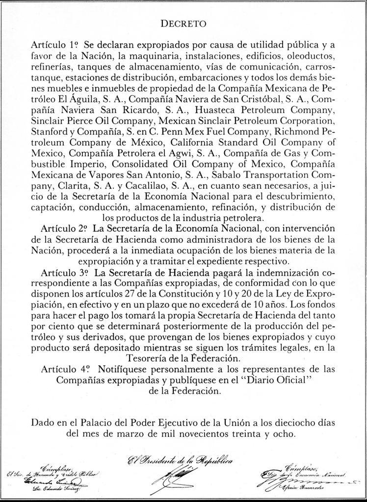 Marzo 18, 1938, 10PM: 'Artículo 1o. Se declaran expropiados por causa de utilidad pública y a favor de la Nación... https://t.co/WLGEUceqqf