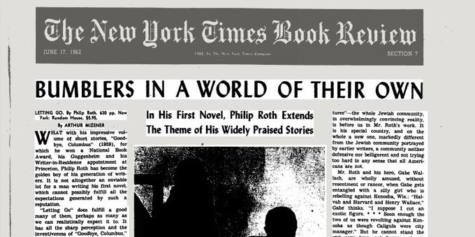 "Happy Birthday Philip Roth. In 1962, the Times reviewed his first novel, ""Letting Go\"":"