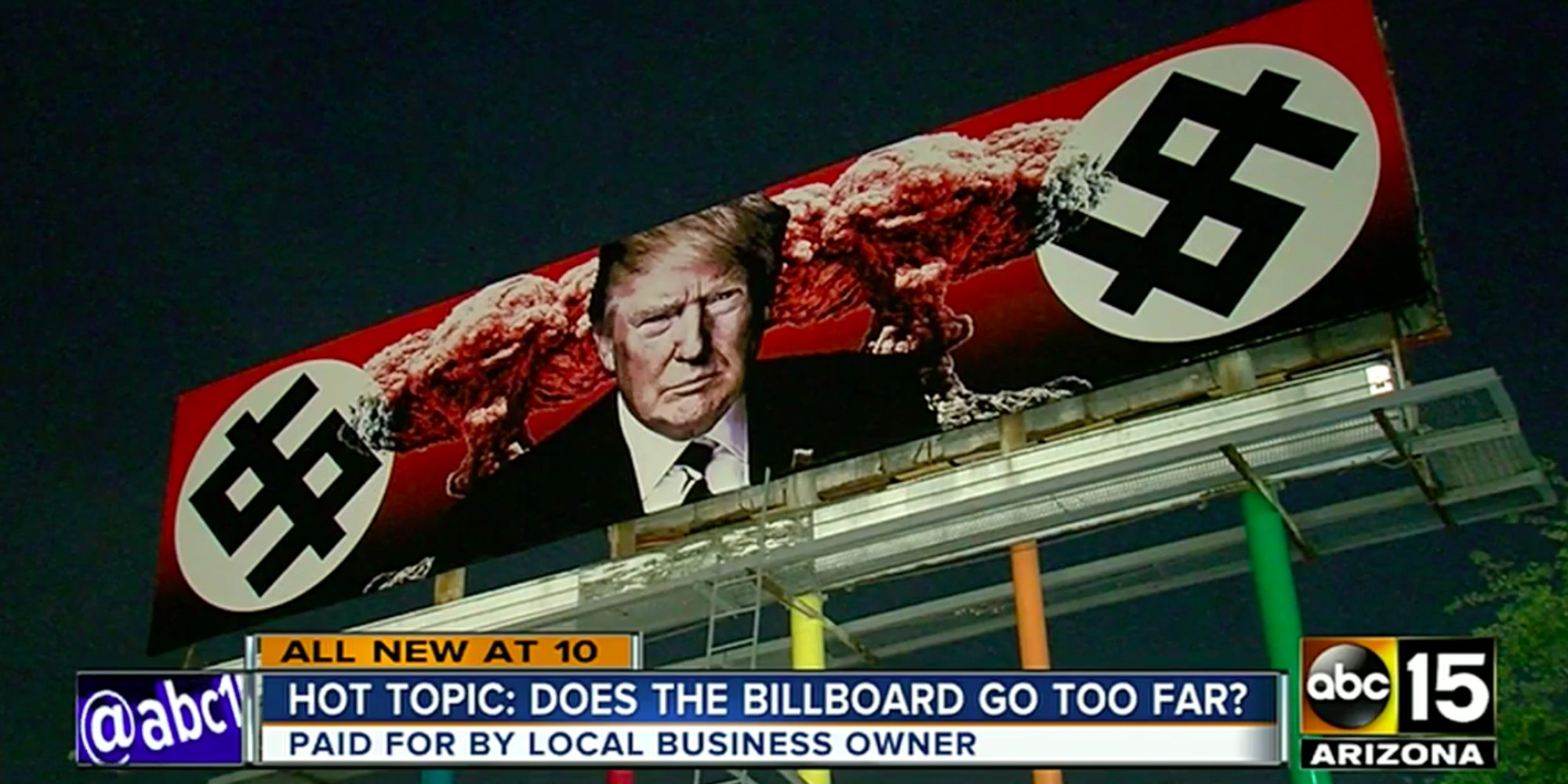 Nazi-themed Trump billboard to stay up as long as he's president, owner says https://t.co/IDw94Ix4HS https://t.co/OYjPcSUJSM